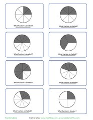 Fraction circle worksheet, game, quiz and flash card.